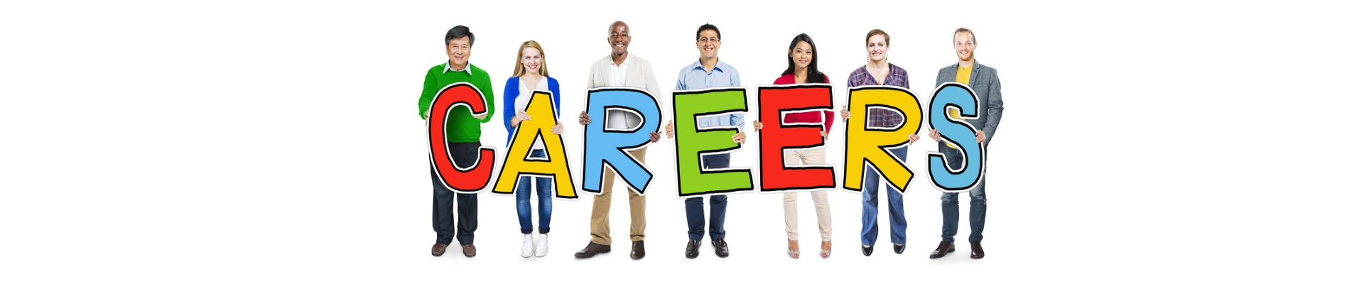 group of people standing holding careers letter