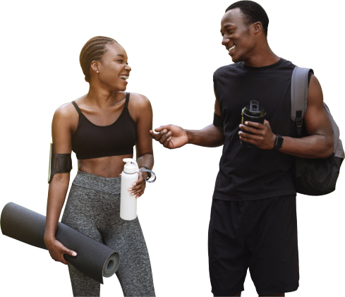 Athletic African Couple Chatting Together After Working Out